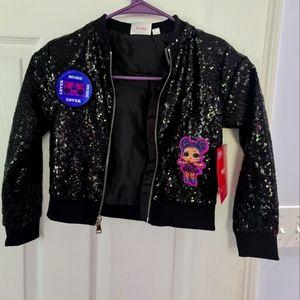 LOL Black Sequin Girls Jacket NWT SZ 4/5